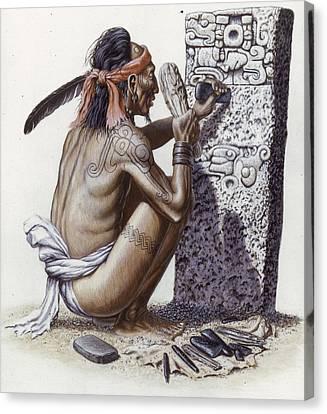 Artisan Canvas Print - A Maya Artisan Readies A Limestone by Terry W. Rutledge