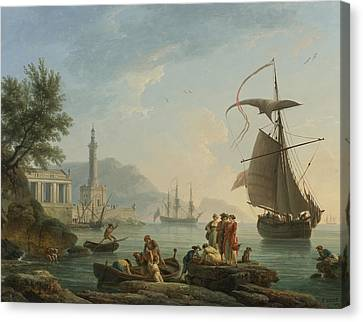 A Mediterranean Harbor At Sunset With Fisherfolk At The Water's Edge Canvas Print