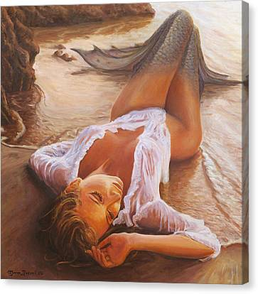 Sea Canvas Print - A Mermaid In The Sunset - Love Is Seduction by Marco Busoni