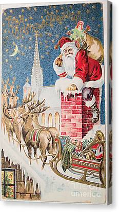 A Merry Christmas Vintage Greetings From Santa Claus And His Raindeer Canvas Print