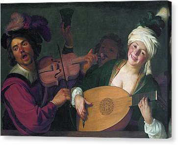 A Merry Group Behind A Balustrade With A Violin And A Lute Playe Canvas Print by Gerard van Honthorst