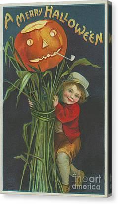 Carved Canvas Print - A Merry Halloween by Ellen Hattie Clapsaddle