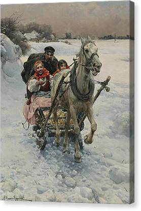 A Merry Ride Canvas Print by Alfred Kowalski