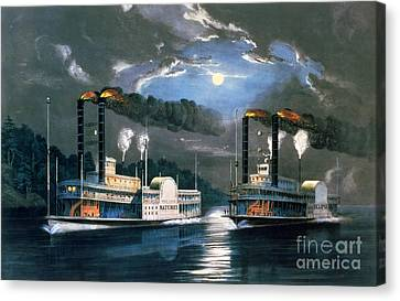Navy Canvas Print - A Midnight Race On The Mississippi by Currier and Ives