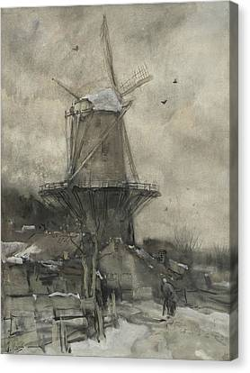 Dutch Landscapes Canvas Print - A Mill In Winter by Jacob Maris