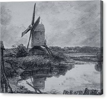 A Mill On The Banks Of The River Stour Charcoal On Paper Canvas Print