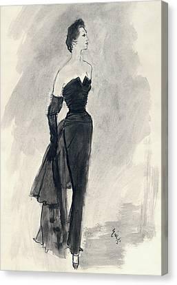 A Model Wearing A Nina Ricci Dress Canvas Print by Carl Oscar August Erickson