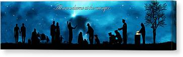 A Modern Nativity Scene.   All Are Welcome At The Manger. Canvas Print by Julie Rodriguez Jones