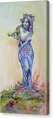 Canvas Print featuring the painting A Moment In Time by Mary Haley-Rocks