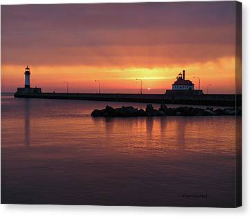 Duluth Canal Park Canal Park Lighthouse Lighthouse Lake Superior Minnesota Canvas Print - A Moment Like This by Alison Gimpel