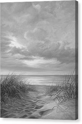 A Moment Of Tranquility - Black And White Canvas Print by Lucie Bilodeau