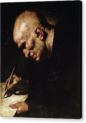 A Monk Scribe  Canvas Print by Master of the Annunciation to the Shepherds