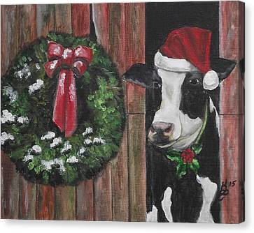 Canvas Print - A Moo-rry Christmas by Kim Selig