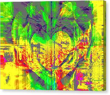 Canvas Print featuring the digital art A Moody Heart by Fania Simon