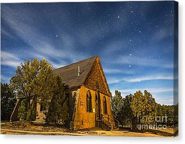 Silver Moonlight Canvas Print - A Moonlit Nightscape Of The Historic by Alan Dyer