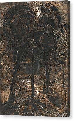 A Moonlit Scene With A Winding River Canvas Print by Samuel Palmer