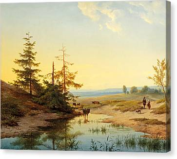 A Moorland With Figures And Cattle By A Pond Canvas Print
