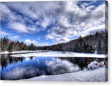 Canvas Print featuring the photograph A Moose River Snowscape by David Patterson
