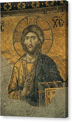 A Mosaic Of Jesus The Christ At St Canvas Print by Tim Laman