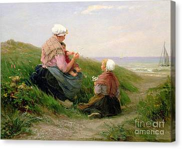 A Mother And Her Small Children Canvas Print by Edith Hume