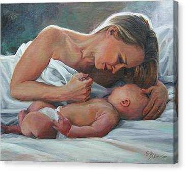A Mother's Adoration Canvas Print
