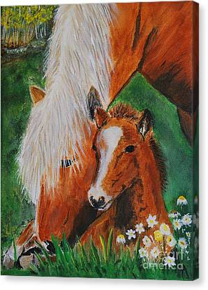 Canvas Print featuring the painting A Mothers Love by Leslie Allen