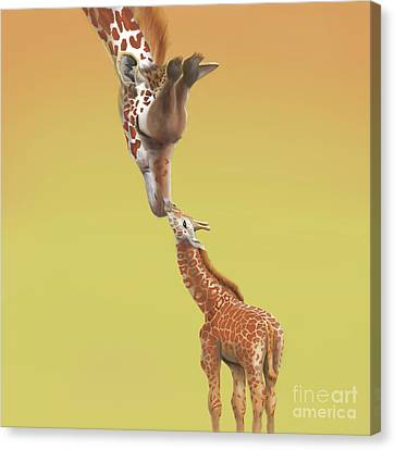 Canvas Print featuring the digital art A Mother's Love by Thomas J Herring