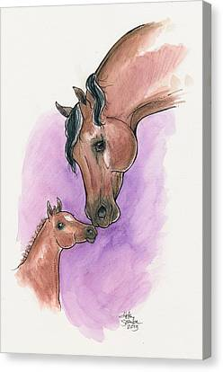 Uconn Canvas Print - A Mother's Love, Uc Lyric And Her Foal, Uc Ringmaster by Helen Scanlon