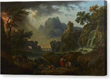 A Mountain Landscape With An Approaching Storm Canvas Print by Claude-Joseph Vernet