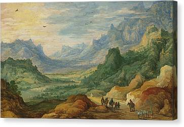 Landscape With Figure Canvas Print - A Mountainous Landscape With Travellers And Herdsmen On A Path by Jan Brueghel and Joos de Momper