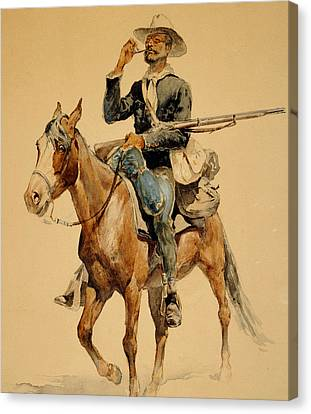 Infantryman Canvas Print - A Mounted Infantryman by Frederic Remington
