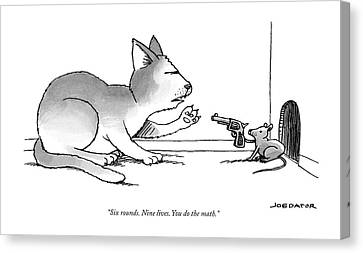 Pistol Canvas Print - A Mouse Is In Front Of A Mouse Hole Pointing by Joe Dator