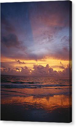 Solar Phenomena Canvas Print - A Multi-hued Sunset Over Marco Island by Raul Touzon
