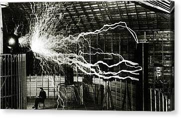 Man Ray Canvas Print - A Multiple Exposure Picture Of Tesla With His Magnifying Transmitter by American School