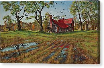 A Murder Of Crows Canvas Print by Peter Muzyka