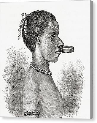 Disc Canvas Print - A Native African Woman Wearing A Lip by Vintage Design Pics