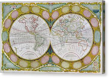 A New And Correct Map Of The World Canvas Print by Robert Wilkinson