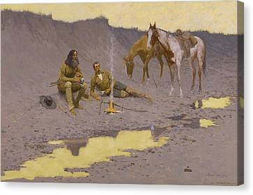 Remington Canvas Print - A New Year On The Cimarron by Frederic Remington