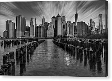 New York City Canvas Print - A New York City Day Begins Bw by Susan Candelario