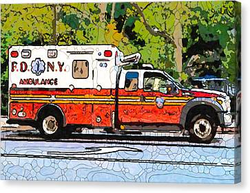 Ny Police Department Canvas Print - A New York Fire Department Ambulance by Lanjee Chee