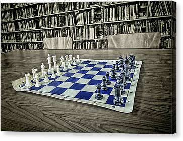 Canvas Print featuring the photograph A Nice Game Of Chess by Lewis Mann