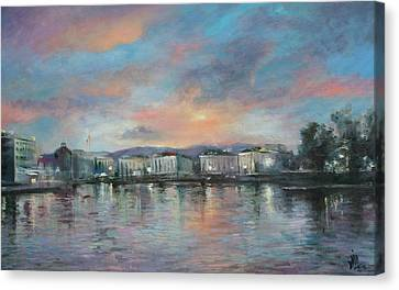 A Night At Geneva Canvas Print by Vali Irina Ciobanu