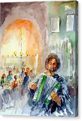 Canvas Print featuring the painting A Night At The Tavern by Faruk Koksal