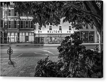 A Night On The Bentonville Arkansas Square Black White Canvas Print by Gregory Ballos