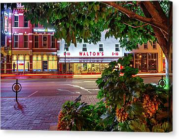 A Night On The Bentonville Arkansas Square Canvas Print by Gregory Ballos