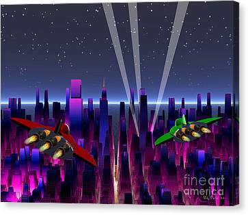 A Night On The Town Canvas Print by Walter Oliver Neal