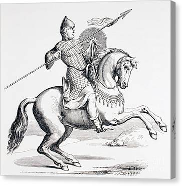 Armor Canvas Print - A Norman Knight Dressed In Chain Mail And Helmet Carrying Spear And Shield by French School