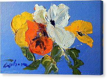 A Nudge Of Pansies Canvas Print by Ron Wilson