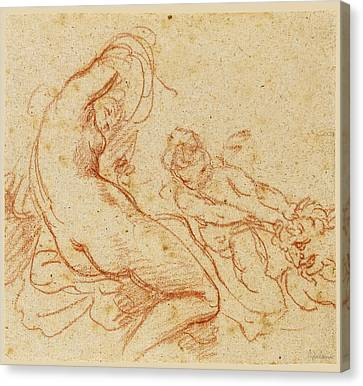 A  Nymph And A Cupid Dragging A Satyr Canvas Print by Giovanni Battista Cipriani