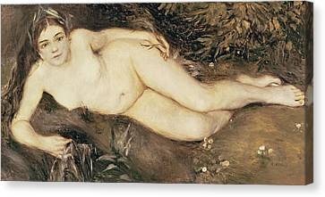 A Nymph By A Stream Canvas Print by Pierre Auguste Renoir